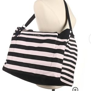 NEW Victoria's Secret Stripe Weekender Tote Bag